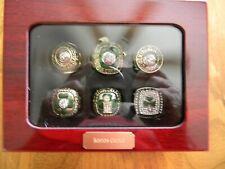 BOSTON CELTICS NBA CHAMPIONSHIP 6 RING SET W/CHERRYWOOD DISPLAY BOX
