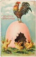 Easter Greetings Chicks And Rooster Crowing On Egg Antique Postcard
