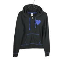 Victorias Secret Heart Logo Hoodie Full Zip Sweatshirt Jacket Size Medium Black