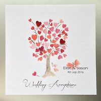PERSONALISED Handmade WEDDING ACCEPTANCE / REGRET Card HEART TREE