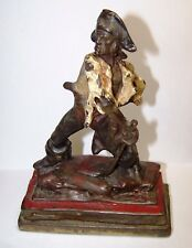 Antique Armor Bronze Pirate Enameled Metal Statue Book End Signed P Beneduce