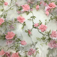 1 Yard 3D Chiffon Pink Rose Flower Lace Fabric Organza Floral Embroidery 51''