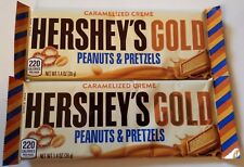NEW 2 (TWO) HERSHEY'S GOLD PEANUTS & PRETZELS CARAMELIZED CREME CANDY BAR 1.4 OZ