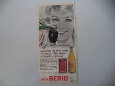 advertising Pubblicità 1962 OLIO BERIO - ONEGLIA