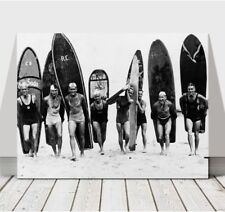 """COOL VINTAGE SURFING PHOTO CANVAS ART PRINT POSTER - B&W Longboards - 16x12"""""""