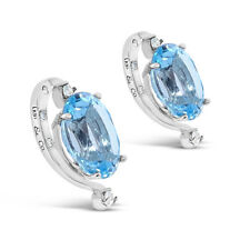 Lo lo co Designer Topaz Earrings & Diamonds Platinum Plated Sterling Silver
