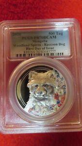 2018 Mongolia 500 Tug Woodland Spirits Racoon Dog Silver Coin PCGS PR70DCAM FDOI