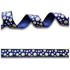 5 Yards Blue White Gold Daisy Flower Foil Grosgrain Ribbon 22mm Wide UK