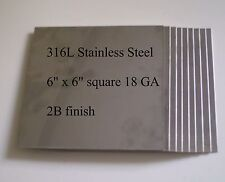 "8 pcs 316L 18 Ga 6"" x 6"" Stainless Steel Plate"