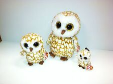 TY SET OF 3 SWOOPS BROWN OWL BEANIE BOOS-NEW, MINT TAGS-LOVES TO PLAY TAG