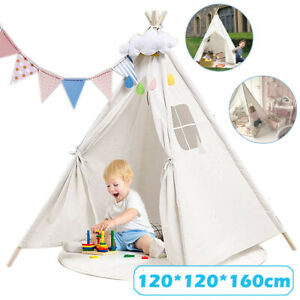 Large Cotton Canvas Kids Teepee Tent Childrens Indoor Outdoor Play House Gift UK