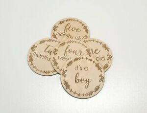 20 Wooden Milestone Cards Rounds Ply Lasered New Born Baby Shower Gift