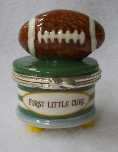 "Mudpie ""First Little Curl"" w/Football Trinket Box"