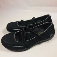 Women's Skechers Relaxed Fit Memory Foam Slip-on Strap Black Walking Shoes-7