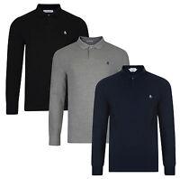 Original Penguin Men's Casual Long Sleeve Cotton Polo Shirt Raised Rib Piqué Top