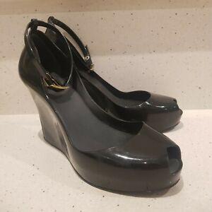 Melissa Patchuli Black Peep Toe Wedge Shoes AUS 8 EUR 39