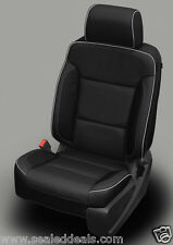 2017 2018 GMC Sierra SLE Crew Cab Custom Black Katzkin Leather Seat Covers