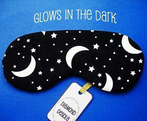Eye Sleep Mask Moon Night Cotton Glow in Dark Travel Gift Blackout Relax UK Made