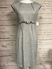 Dressbarn Gray White Houndstooth Print Belted Pencil Dress Silver Belt 6 NWT