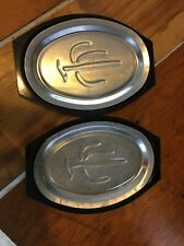 Nordic Ware Platter Holder And Sizzling Steak Server Plate Set of 2 No 10B 510
