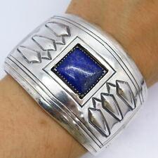 "Cippy Crazyhorse Vintage Old Pawn Sterling Silver Lapis Tribal Cuff Bracelet 6"""