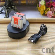 2xNP-BG1/FG1 Battery+USB Charger For Sony CyberShot DSC-H5 H10 W70 W80 W90 W100