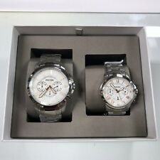 New FOSSIL BQ2180SET Grant Silver Stainless Steel - Men Women Couple Set