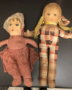 """2 Early Antique American Folk Art 16 1/2"""" Cloth Doll w/ Oil Painted Face Beauty"""
