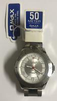 OMAX SUPREME  Quartz  Watch CS571 Stainless Steel  50m WR With OMAX Original Box