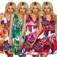 Damen Kleid Sommerkleid Cocktailkleid Aquarell Muster Party top knielang S 34 36