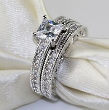Sterling Silver  2 ct CZ Engagement and Wedding ring Set (size 6)