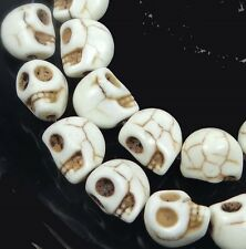 10mm Tiny off White Spider Turquoise Skull Beads Halloween (20)