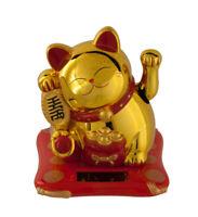 Gato Japonés 7cm Dorado Amuleto de la Suerte Maneki Neko Pata Animación Solar