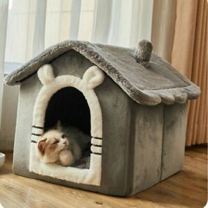 Small Dog House Cat Bed Warm Semi-Enclosed Universal Kennel Washable Cat Supplie