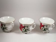 Set of 3 VINTAGE GENUINE BONE CHINA CHRISTMAS POINSETTIA PATTERN Cup and Saucers
