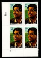 Sc # 3781 ~ Plate Block ~ 37 cent Cesar E. Chavez Issue (ch14)