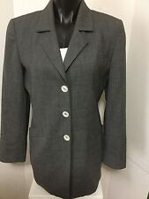 Dana Buchman Size 8P Wool Gray Blazer Three Button Front Lined Jacket