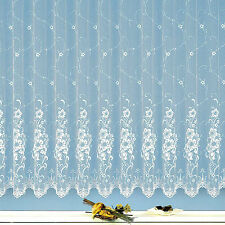 Gardine edler Jacquard Store Vorhang reinweiß Blumen Florentiner Optik Typ261