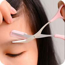 NEW Women Eyebrow Trimmer Comb Eyelash Hair Scissors Cutter Remover Makeup Tools