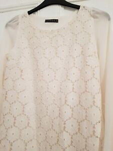 """DRESS SIZE 12 BY ATMOSPHERE IN CREAM LACE S/HEM 31.5""""  ( N20)"""