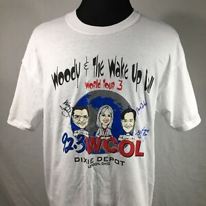WCOL Woody Wake Up Call Adult Large White T Shirt Autographed Tee London Ohio