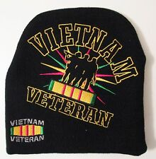 VIETNAM VETERAN W/ SOLDIERS AND RIBBON LOG EMBROIDERED BLACK STEEP BEANIE CAP