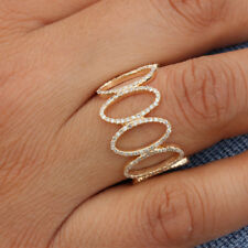Genuine Pave Diamond Cage Ring Solid 14k Yellow Gold Fine Jewelry Birthday Gift