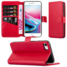 iPhone 8 Apple iPhone 8  Leather Case Flip Folio Wallet Card Slots Cover - Red