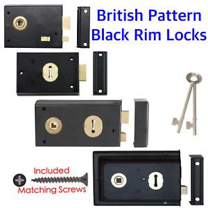 Black Rim Lock Sash Dead Fluted Flanged Double Handed Door Latch Cottage Shed+2k