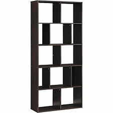 12-Shelf Bookcase Wood Expresso Storage Home Office Furniture Cube Bookshelves