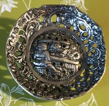 (?) Dutch Scene Spoon Brooch/pin Handcrafted & Repurposed Vintage Silver Plate