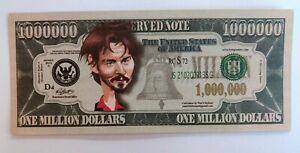 USA US 1 Million Dollar Bill Banknote Celebrity  Gospel  3/34 Johnny Depp