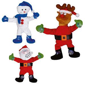 Dancing Christmas Polyester Window Cling - Santa, Reindeer, Snowman - Decoration