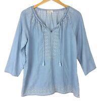 J Jill Denim Chambray Top S Embroidered Tencel Blue Tasseled 3/4 Sleeve